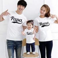 Kaos papa mama dan kids couple / baju keluarga anak ayah dan bunda