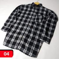 Kemeja Flanel Unisex Pria Wanita Lengan Panjang Kotak Flannel shirt