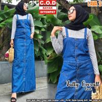 Jumpsuit Wanita Terbaru - Overall Denim Vally - Baju Kodok Wanita - Biru, All Size