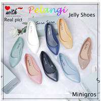 PELANGI Jelly Shoes Sepatu jelly wanita sepatu kerja flat shoes baller - BLACK, 36