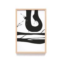 Lukisan Abstrak Brush Tinta Hitam Print Art Wall Decor Minimalis - 046A, Frame Natural