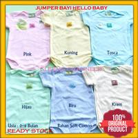 Baju Jumper Bayi Hello Baby Motif Polos Bahan Soft Cotton Bayi Newborn