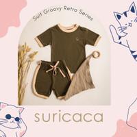SURICACA Setelan Baju Anak Kaos Bayi Celana Pendek - Retro Series 1A - Hijau, XL
