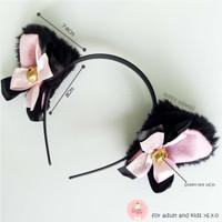 Bando kucing pita tumpuk black pink