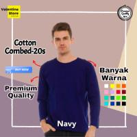 Kaos Lengan Panjang Pria Long Sleeve Pria Baju Panjang Pria Biru Navy - XXXL