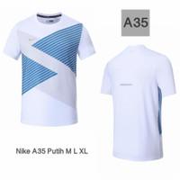 Kaos Running Man Nike DryFit Pria /Baju Lari, Gym dan Fitness - Putih, M