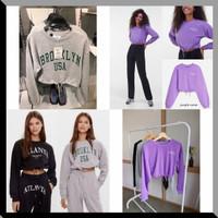 Baju Atasan Wanita Sweater Crop Kekinian Terbaru - Black Atlanta, XS