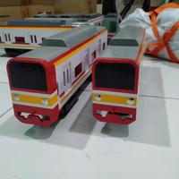 miniatur mainan commuter Line kereta krl bahan triplek tebal