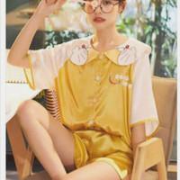 Setelan baju tidur piyama import celana pendek wanita murah lucu - yellow doraemon, XXL