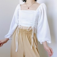 Baju pakaian wanita cewek sabrina puffy crop top serut - Putih