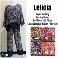 Babydoll Batik Setelan Celana Panjang/Baju Tidur Wanita Dewasa Muslim