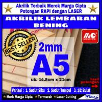 AKRILIK lembaran 2mm uk. A5 / Akrilik bening / Marga cipta / Arcylic