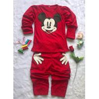 Setelan Baju Tidur Celana Panjang Anak Perempuan Umur 6-12 Tahun - KEPALA MICKEY, S