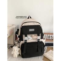 Tas backpack tas punggung wanita kerja sekolah yh-x 2420-4 - fashion Hitam