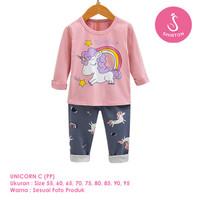 Setelan Baju Tidur Anak Perempuan Import Panjang Unicorn C Shirton