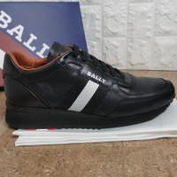 sepatu sneaker bally mirror sepatu pria cowok hitam kulit asli lv