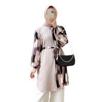 Baju Atasan Wanita Tunik Kemeja Motif Baru Ori Moela Bahan Rayon
