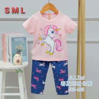Setelan baju tidur anak import piyama anak perempuan unicorn pink - unicorn, 65
