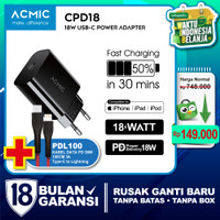 ACMIC CPD18 USB-C 18W Power Adapter Charger Fast Charging Apple iPhone