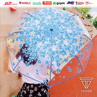 payung lipat jepang motif transparan cherry blossom / payung mini