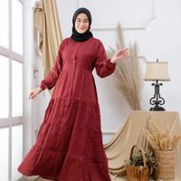 Baju Gamis Wanita Rempel Susun Polos Katun Premium