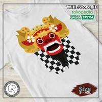 Kaos Bali Barong Art   Kaos 100% Cotton Combed 30s   S - 4XL - Putih, S