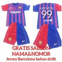 Setelan baju Jersey bola anak Barca Barcelona bonus sablon nama nomor