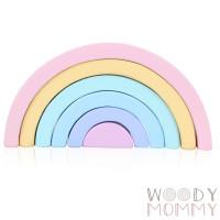 Macaron Wooden Rainbow Block Stacker | Balok Pelangi Susun Kayu Pastel