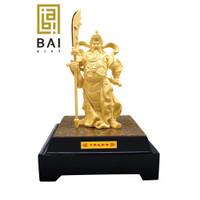Patung Dewa Kwan Kong Lapis Emas 24K Pajangan Dewa Kwan Kong Hadiah