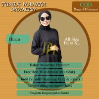 Tunik Wanita Modern Terbaru Kekinian / Atasan Baju Muslim - Hitam