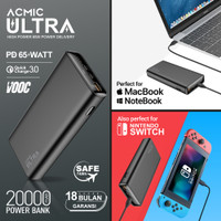 ACMIC ULTRA 65W USB-C PD PowerBank for Laptop MacBook Nintendo Switch