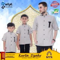 Baju Koko Kurta Muslim Pakistan Couple Ayah dan Anak Brand Arra Dzaky - Khaki, S Dewasa