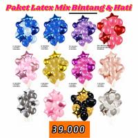 paket balon set latex foil rose gold gold silver mix love bintang