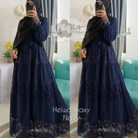 Helwa maxy ceruty baby doll Gamis athata Gamis wanita Gamis Only - Navy, all size