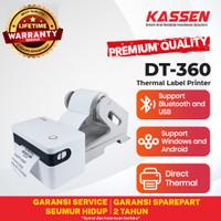 KASSEN DT-360 PRINTER BARCODE STICKER 80 CETAK THERMAL (USB+BLUETOOTH)