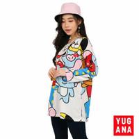 Kaos Oversize Wanita BTS BT21 Lengan Panjang - Putih, XXL
