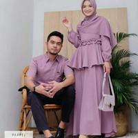 baju couple muslim polos - Cream, M