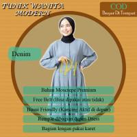 Atasan Muslim Wanita / Tunik Wanita Modern Terbaru Kekinian - Denim