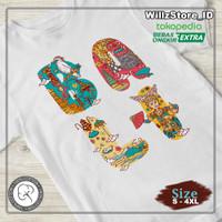Kaos Bali Art   Bali Barong   Kaos 100% Cotton   S - 4XL - Putih, S