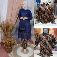 Kebaya Tunik Brokat Couple / Baju Pesta Sarimbit / Hem Pesta - Navy, M