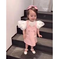 Setelan Anak Perempuan Set Baju Kodok Rok Import Real Picture Kaos - S