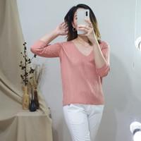 Atasan Baju Casual Wanita Premium - Raven Knit Top NWclothing - Dusty Pink