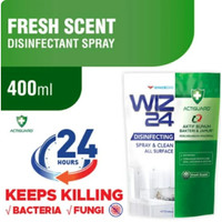 WIZ 24 WIZ24 DISINFECTANT SPRAY & CLEAN ALL SURFACE REFILL POUCH 400ML