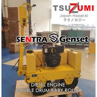 Baby Roller Diesel Double Drum Mesin Pemadat Aspal Tsuzumi Japan Tech