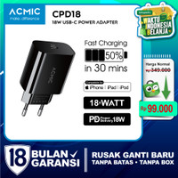 ACMIC CPD18 USB-C 18W Power Adapter Charger Fast Charging Apple iPhone - CPD18 Only
