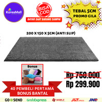 Karpet bulu KOREA 200x150x5,5cm Anti Slip + bantal rasfur TERMURAH - Abu-abu