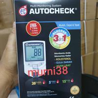 Autocheck 3 in 1/Alat tes gula darah,asam urat dan kolesterol