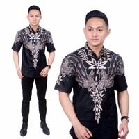 Baju Kemeja Hem Batik Wayang Monokrom Lengan Pendek | M - L - XL