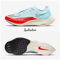 Sepatu Lari Nike Zoom x Vaporfly % 2 Sepatu Running Keren - baby blue red, 40