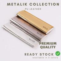 READY Kulit Imitasi / Bahan Sintetis / PU Leather (Oscar) - Metalik - gold